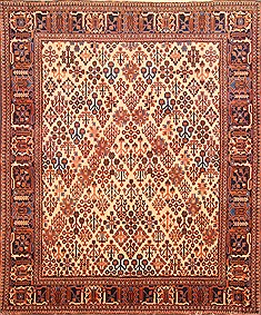 Persian Joshaghan Beige Square 7 to 8 ft Wool Carpet 19598