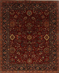 Indian Isfahan Red Rectangle 8x10 ft Wool Carpet 19609