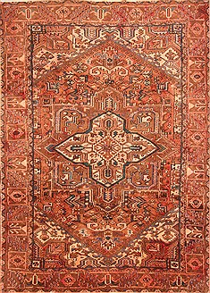 Persian Heriz Red Rectangle 7x10 ft Wool Carpet 19621