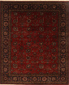 Indian Tabriz Red Rectangle 8x10 ft Wool Carpet 19635