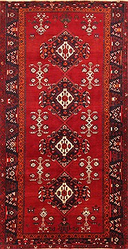"Hamedan Red Hand Knotted 4'10"" X 9'5""  Area Rug 100-19637"