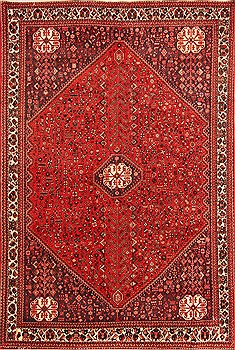 Persian Abadeh Red Rectangle 7x10 ft Wool Carpet 19639