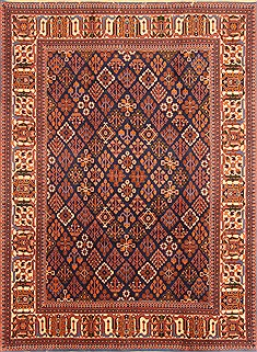 "Sarouk Red Hand Knotted 7'1"" X 10'6""  Area Rug 100-19642"