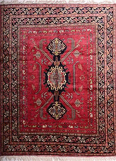 "Pishavar Red Hand Knotted 8'3"" X 10'10""  Area Rug 100-19744"