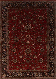 Indian Isfahan Red Rectangle 6x9 ft Wool Carpet 19751