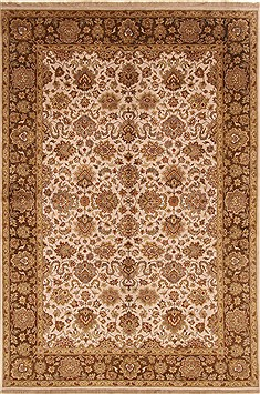 Indian Tabriz Beige Rectangle 6x9 ft Wool Carpet 19765