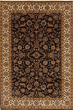Indian Isfahan Brown Rectangle 6x9 ft Wool Carpet 19783