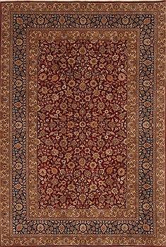 Chinese Tabriz Red Rectangle 6x9 ft Wool Carpet 19785