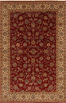 Indian Isfahan Red Rectangle 6x9 ft Wool Carpet 19792