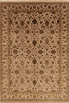 Indian Tabriz Beige Rectangle 6x9 ft Wool Carpet 19805