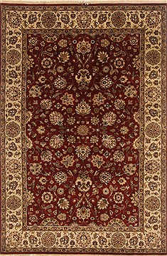 Indian Kashan Red Rectangle 6x9 ft Wool Carpet 19808