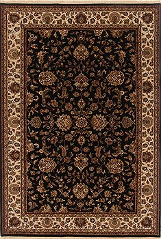 Indian Tabriz Black Rectangle 6x9 ft Wool Carpet 19814