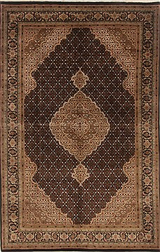 Indian Tabriz Black Rectangle 6x9 ft Wool Carpet 19816