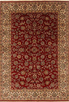 Indian Isfahan Red Rectangle 6x9 ft Wool Carpet 19830