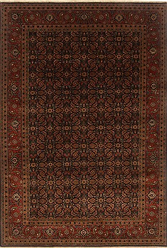 Indian Herati Brown Rectangle 6x9 ft Wool Carpet 19838