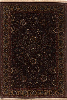 Indian Isfahan Brown Rectangle 4x6 ft Wool Carpet 19879