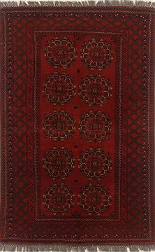 Afghan Bokhara Red Rectangle 3x5 ft Wool Carpet 19910
