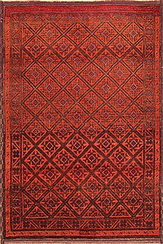 Persian Baluch Orange Rectangle 5x7 ft Wool Carpet 19996