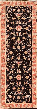"Tabriz Black Runner Hand Knotted 2'10"" X 8'0""  Area Rug 100-20007"
