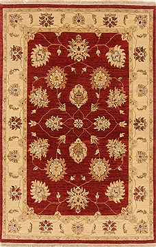 Indian Chobi Red Rectangle 4x6 ft Wool Carpet 20034