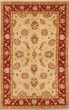 Pakistani Chobi Beige Rectangle 4x6 ft Wool Carpet 20042