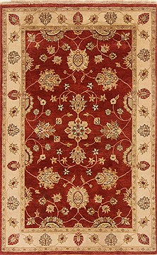 Indian Chobi Red Rectangle 4x6 ft Wool Carpet 20045