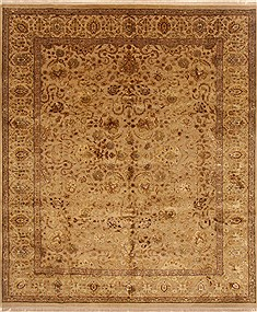 Indian Kashan Brown Rectangle 8x10 ft Wool Carpet 20148