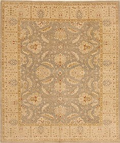 Pakistani Chobi Grey Rectangle 8x10 ft Wool Carpet 20152