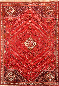 "Qashqai Red Hand Knotted 6'11"" X 9'8""  Area Rug 100-20185"