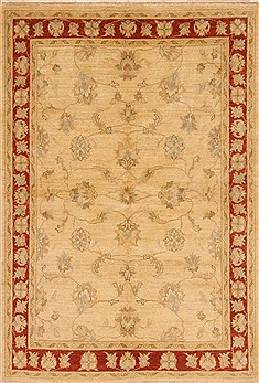 Indian Oushak Beige Rectangle 4x6 ft Wool Carpet 20305