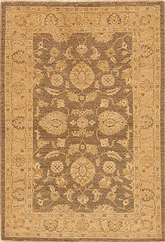 Pakistani Chobi Brown Rectangle 4x6 ft Wool Carpet 20310