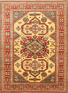 "Pakistani Kazak  Wool Yellow Area Rug  (4'10"" x 6'7"") - 250 - 20485"