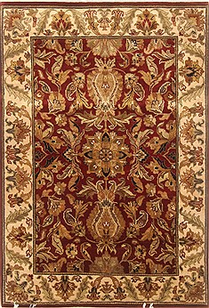 Indian Agra Red Rectangle 4x6 ft Wool Carpet 20492