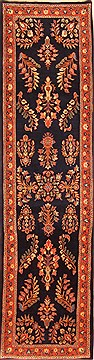 "Sarouk Blue Runner Hand Knotted 2'7"" X 9'6""  Area Rug 100-20513"