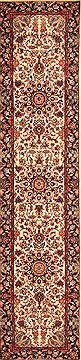 Chinese Tabriz White Runner 10 to 12 ft Wool Carpet 20540