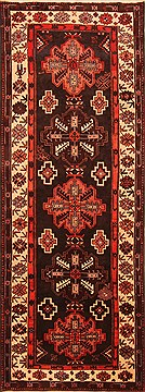 "Shahsavan Black Runner Hand Knotted 3'6"" X 9'4""  Area Rug 100-20546"