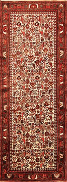 "Malayer Beige Runner Hand Knotted 3'7"" X 10'10""  Area Rug 100-20559"