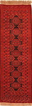 "Kunduz Red Runner Hand Knotted 3'0"" X 9'0""  Area Rug 100-20583"