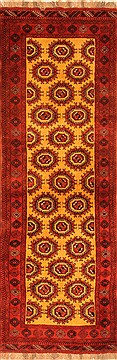 Afghan Bokhara Yellow Runner 10 to 12 ft Wool Carpet 20584