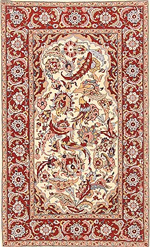 Chinese Sino-Persian Beige Rectangle 4x6 ft Wool Carpet 20594