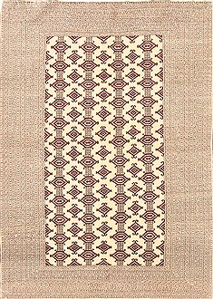 Indian Bokhara Beige Rectangle 4x6 ft Wool Carpet 20602