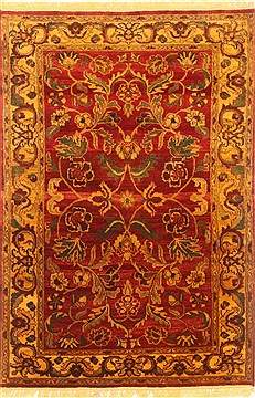 Indian Agra Red Rectangle 4x6 ft Wool Carpet 20603