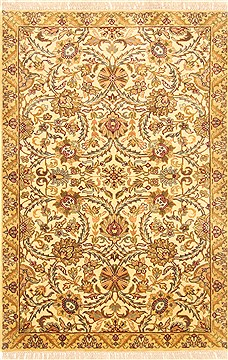 Indian Agra Beige Rectangle 4x6 ft Wool Carpet 20632