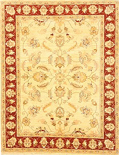 Pakistani Chobi Beige Rectangle 5x7 ft Wool Carpet 20646