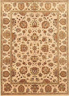 "Agra Beige Hand Knotted 5'2"" X 7'2""  Area Rug 250-20676"