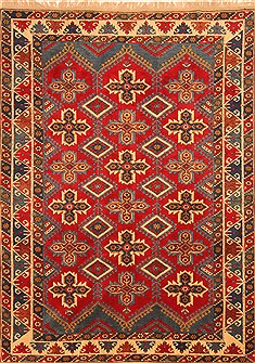 "Yalameh Red Hand Knotted 6'7"" X 9'0""  Area Rug 100-20709"