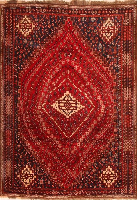 Persian Ghashghaei Red Rectangle 7x10 Ft Wool Carpet 20716