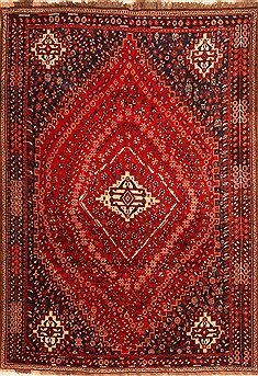 "Qashqai Red Hand Knotted 6'11"" X 9'11""  Area Rug 100-20716"