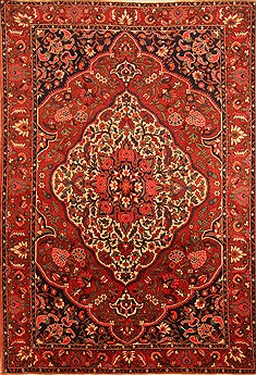 Persian Bakhtiar Red Rectangle 7x10 ft Wool Carpet 20722