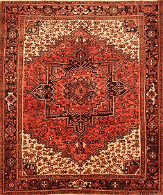 "Heriz Red Hand Knotted 7'4"" X 8'10""  Area Rug 100-20730"
